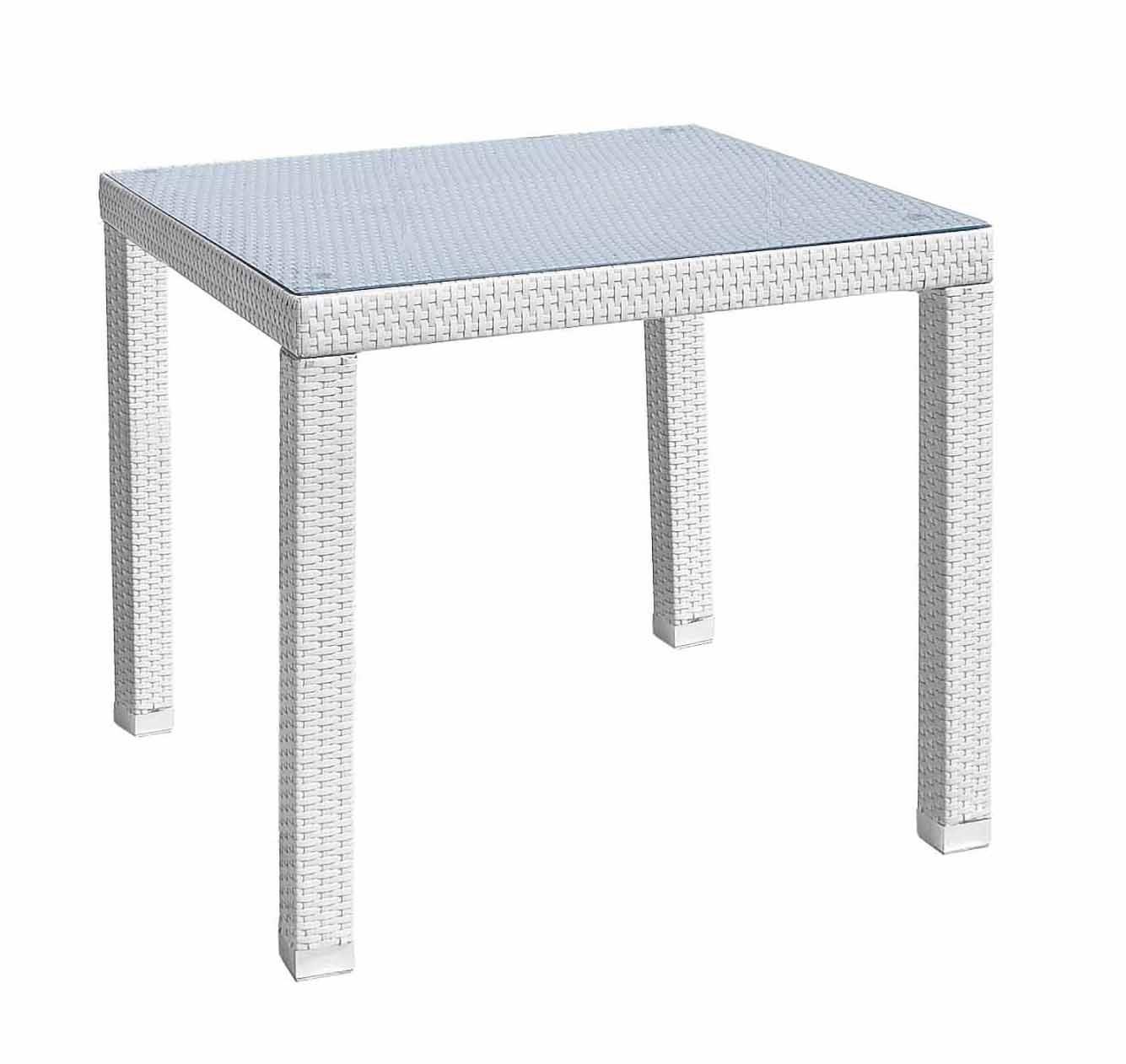 Tavolo steps wite polyrattan 80x80 lamacchia mobili da for Tavolo esterno 80x80