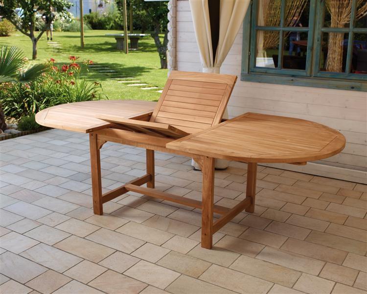 Tavolo legno teak ovale allungabile panchine lamacchia - Mobili da giardino in teak ...